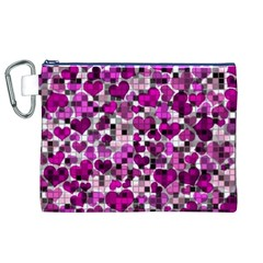 Hearts And Checks, Purple Canvas Cosmetic Bag (XL)