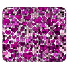 Hearts And Checks, Purple Double Sided Flano Blanket (small)