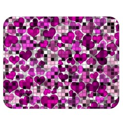 Hearts And Checks, Purple Double Sided Flano Blanket (Medium)