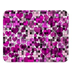Hearts And Checks, Purple Double Sided Flano Blanket (Large)