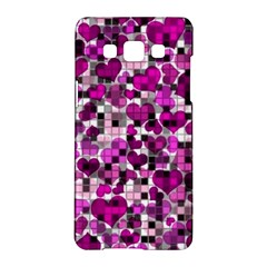 Hearts And Checks, Purple Samsung Galaxy A5 Hardshell Case