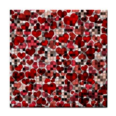 Hearts And Checks, Red Tile Coasters