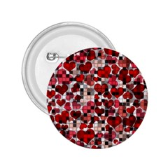 Hearts And Checks, Red 2.25  Buttons