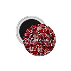 Hearts And Checks, Red 1.75  Magnets