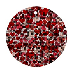 Hearts And Checks, Red Ornament (Round)