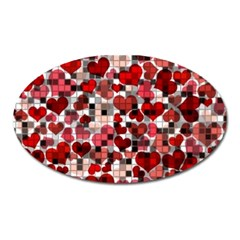 Hearts And Checks, Red Oval Magnet