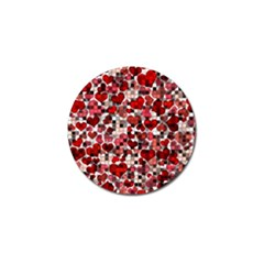 Hearts And Checks, Red Golf Ball Marker