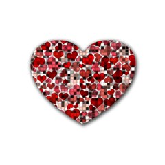 Hearts And Checks, Red Rubber Coaster (Heart)