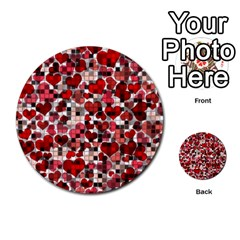 Hearts And Checks, Red Multi-purpose Cards (Round)