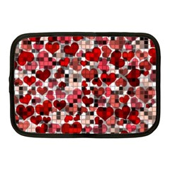 Hearts And Checks, Red Netbook Case (Medium)