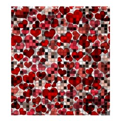 Hearts And Checks, Red Shower Curtain 66  x 72  (Large)