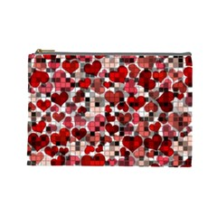 Hearts And Checks, Red Cosmetic Bag (Large)