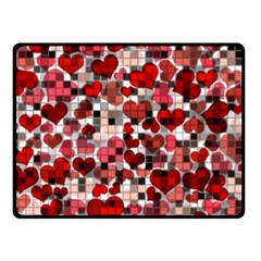 Hearts And Checks, Red Fleece Blanket (Small)