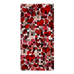Hearts And Checks, Red Shower Curtain 36  X 72  (stall)