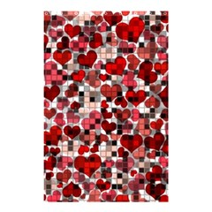 Hearts And Checks, Red Shower Curtain 48  X 72  (small)