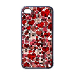 Hearts And Checks, Red Apple iPhone 4 Case (Black)