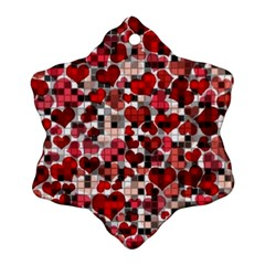 Hearts And Checks, Red Snowflake Ornament (2-Side)
