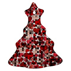 Hearts And Checks, Red Christmas Tree Ornament (2 Sides)