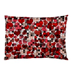 Hearts And Checks, Red Pillow Cases (two Sides)