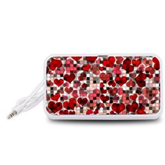 Hearts And Checks, Red Portable Speaker (White)