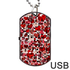 Hearts And Checks, Red Dog Tag USB Flash (One Side)