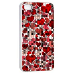Hearts And Checks, Red Apple iPhone 4/4s Seamless Case (White)