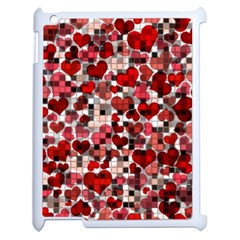 Hearts And Checks, Red Apple iPad 2 Case (White)