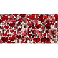 Hearts And Checks, Red You Are Invited 3d Greeting Card (8x4)