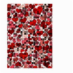 Hearts And Checks, Red Large Garden Flag (two Sides)