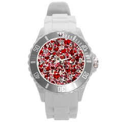 Hearts And Checks, Red Round Plastic Sport Watch (L)
