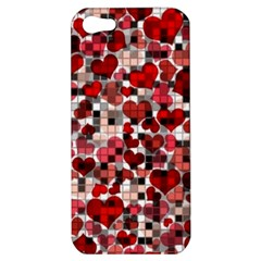 Hearts And Checks, Red Apple iPhone 5 Hardshell Case