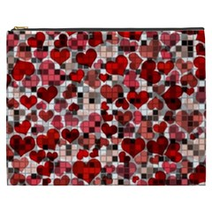 Hearts And Checks, Red Cosmetic Bag (XXXL)