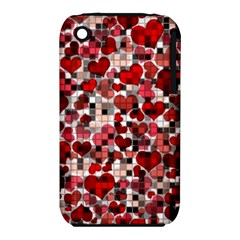 Hearts And Checks, Red Apple iPhone 3G/3GS Hardshell Case (PC+Silicone)