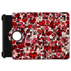 Hearts And Checks, Red Kindle Fire HD Flip 360 Case