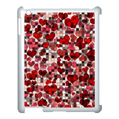 Hearts And Checks, Red Apple iPad 3/4 Case (White)