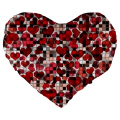 Hearts And Checks, Red Large 19  Premium Heart Shape Cushions
