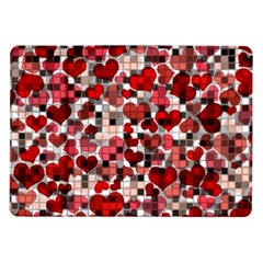 Hearts And Checks, Red Samsung Galaxy Tab 10.1  P7500 Flip Case