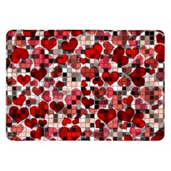Hearts And Checks, Red Samsung Galaxy Tab 8.9  P7300 Flip Case