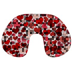 Hearts And Checks, Red Travel Neck Pillows