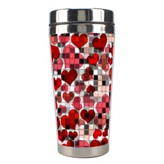 Hearts And Checks, Red Stainless Steel Travel Tumblers