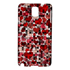 Hearts And Checks, Red Samsung Galaxy Note 3 N9005 Hardshell Case