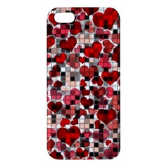 Hearts And Checks, Red iPhone 5S Premium Hardshell Case