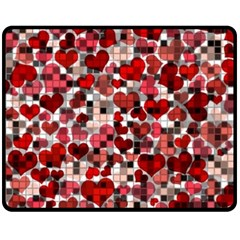 Hearts And Checks, Red Double Sided Fleece Blanket (medium)