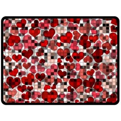Hearts And Checks, Red Double Sided Fleece Blanket (Large)