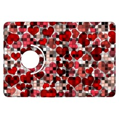 Hearts And Checks, Red Kindle Fire HDX Flip 360 Case