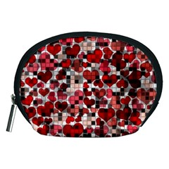 Hearts And Checks, Red Accessory Pouches (Medium)