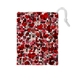 Hearts And Checks, Red Drawstring Pouches (Large)
