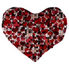 Hearts And Checks, Red Large 19  Premium Flano Heart Shape Cushions