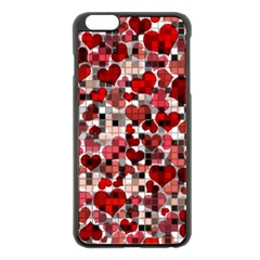 Hearts And Checks, Red Apple iPhone 6 Plus Black Enamel Case