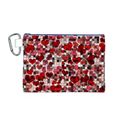Hearts And Checks, Red Canvas Cosmetic Bag (M)
